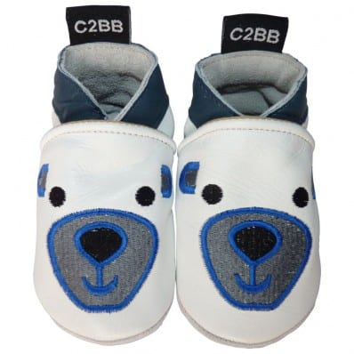 Soft leather baby shoes boys | White bear