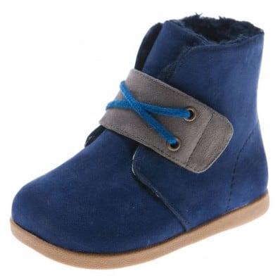 Little Blue Lamb - Zapatos de suela de goma blanda niños | Botines terciopelo violetas
