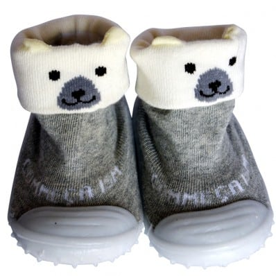 Baby boys girls Socks shoes with grippy rubber | Polar bear