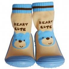 Chaussons-chaussettes enfant antidérapants semelle souple | Ours bleu