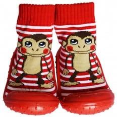 Hausschuhe - Socken Baby Kind geschmeidige Schuhsohle Junge | Affe rot