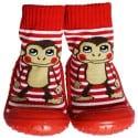 Chaussons-chaussettes enfant antidérapants semelle souple | Singe rouge