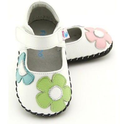 FREYCOO - Chaussures 1er pas cuir souple | Babies blanches à fleurs