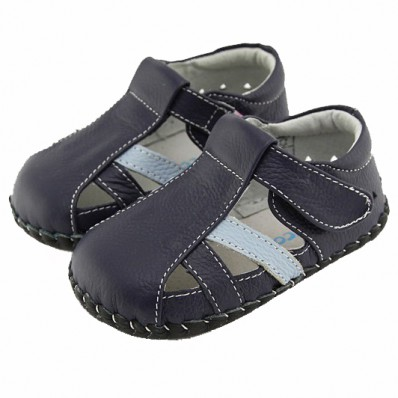 FREYCOO - Baby boys first steps soft leather shoes | Marine blue sandals
