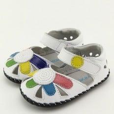 FREYCOO - Chaussures bebe premiers pas en cuir   Babies blanche grosse fleur
