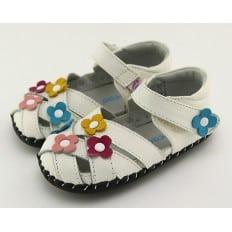 FREYCOO - Krabbelschuhe Babyschuhe Leder - Mädchen | Weiß sandalen mit drei blumen