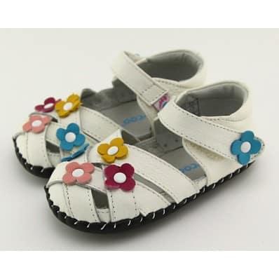 FREYCOO - Chaussures 1er pas cuir souple | Sandales blanche 3 fleurs couleurs C2BB - chaussons, chaussures, chaussettes pour béb