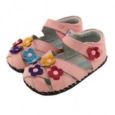 FREYCOO - Chaussures 1er pas cuir souple | Sandales rose 3 fleurs couleurs