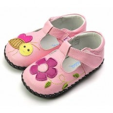 FREYCOO - Chaussures 1er pas cuir souple | Babies rose abeille