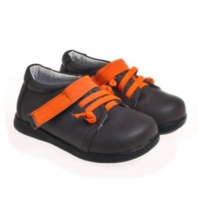 Little Blue Lamb - Zapatos de suela de goma blanda niños   Castaña cordones naranjas