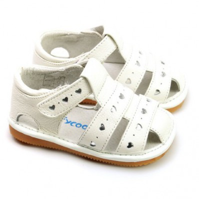 FREYCOO - Krabbelschuhe Babyschuhe squeaky Leder - Mädchen | Weiß sandalen kleine herzen