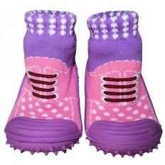 Baby girls Socks shoes with grippy rubber | Pink and purple sneakers