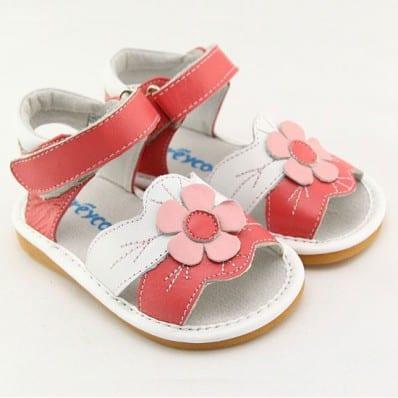 FREYCOO - Zapatos de cuero chirriantes - squeaky shoes niñas | Sandalias rosas y blanco