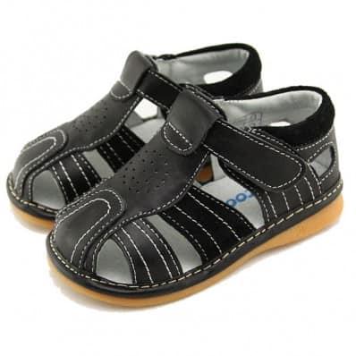 FREYCOO - Zapatos de cuero chirriantes - squeaky shoes niños | Sandalias negras