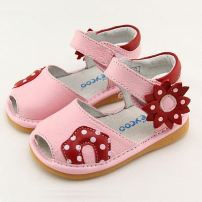 FREYCOO - Krabbelschuhe Babyschuhe squeaky Leder - Mädchen | Pink sandale mit rote blume