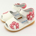 FREYCOO - Squeaky Leather Toddler Girls Shoes | White sandals with pink flower
