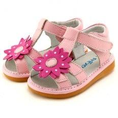 FREYCOO - Zapatos de cuero chirriantes - squeaky shoes niñas | Sandalias rosa flor gruesa y rosa