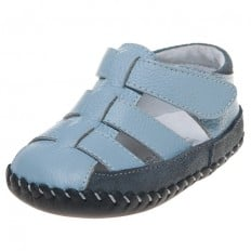 Little Blue Lamb - Baby boys first steps soft leather shoes | Blue and grey sandals