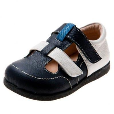 Little Blue Lamb - Chaussures semelle souple | Sandales fermées bleu marine