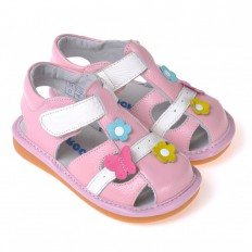 CAROCH - Squeaky Leather Toddler Girls Shoes | White and pink sandal with flowers