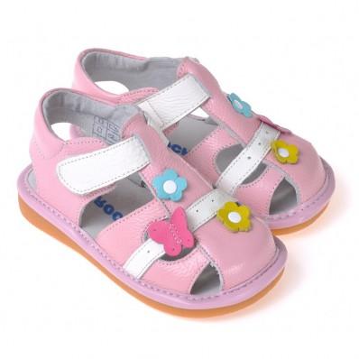 CAROCH - Krabbelschuhe Babyschuhe squeaky Leder - Mädchen   Weiß und pink sandalen mit blumen