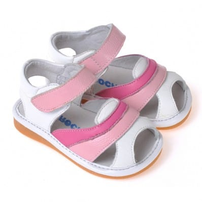 CAROCH - Squeaky Leather Toddler Girls Shoes | Pink and fushia sandals