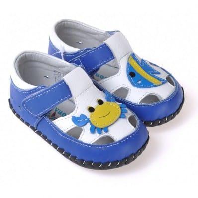 CAROCH - Chaussures 1er pas cuir souple | Sandales bleu crabe