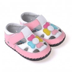 CAROCH - Baby girls first steps soft leather shoes | With multicolore flower white sandals