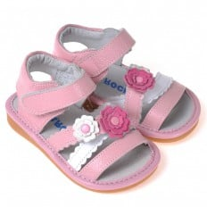 CAROCH - Squeaky Leather Toddler Girls Shoes | Pink and white flowers sandals