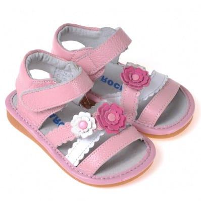 CAROCH - Zapatos de cuero chirriantes - squeaky shoes niñas | Sandalias flor rosa y blanca