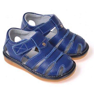 CAROCH - Zapatos de cuero chirriantes - squeaky shoes niños | Sandalias azules