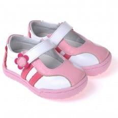 CAROCH - Krabbelschuhe Babyschuhe  Leder - Mädchen | Weiß und pink sneakers