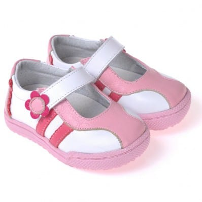 CAROCH - Soft sole girls kids baby shoes | White pink shoes