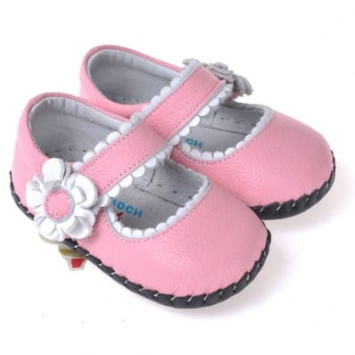 CAROCH - Baby girls first steps soft leather shoes | Pink sandals with silver flower