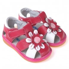 CAROCH - Squeaky Leather Toddler Girls Shoes | Red and white sandals