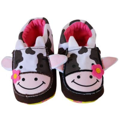 Chaussons bébé enfant toile et tissu | Vache
