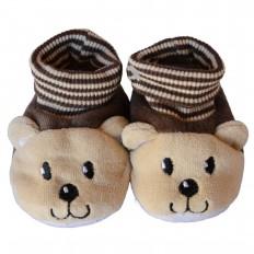 Babyschuhe baumwolle mädchen | Brauner kleiner Bär