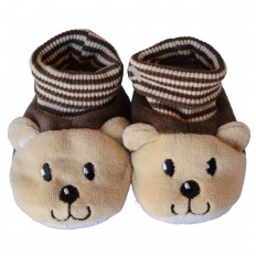 Chaussons chaussettes bébé 0-6 mois toile et tissu | Ourson brun