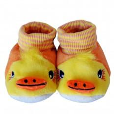 Chaussons chaussettes bébé 0-6 mois toile et tissu | Canard