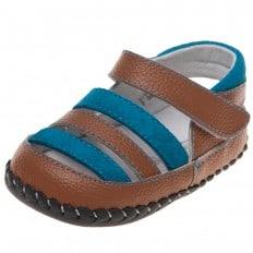 Little Blue Lamb - Zapatos de bebe primeros pasos de cuero niños | Sandalias marrones y azul