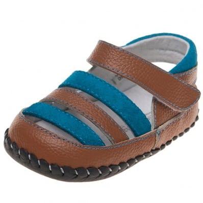 Little Blue Lamb - Chaussures 1er pas cuir souple | Sandales marron et bleu