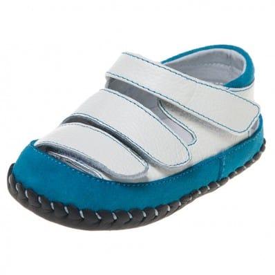 Little Blue Lamb - Scarpine primi passi bimba in morbida pelle   Blu e bianco sandali