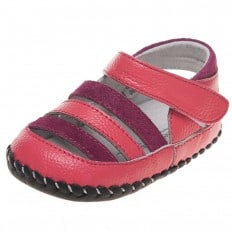 Little Blue Lamb - Baby girls first steps soft leather shoes | Fushia and pink sandals