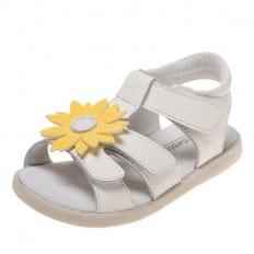 Little Blue Lamb - Zapatos de suela de goma blanda niñas | Sandalias blancas margarita amarilla
