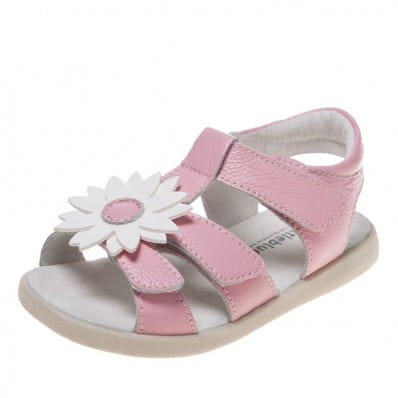 Little Blue Lamb - Soft sole girls Toddler kids baby shoes | Pink white marguerite sandals