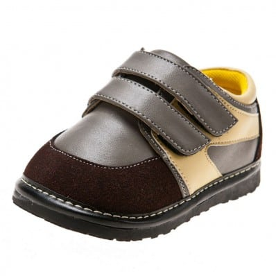 Little Blue Lamb - Squeaky Leather Toddler boys Shoes | Grey yellow