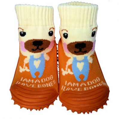 Chaussons-chaussettes enfant antidérapants semelle souple | Chien orange