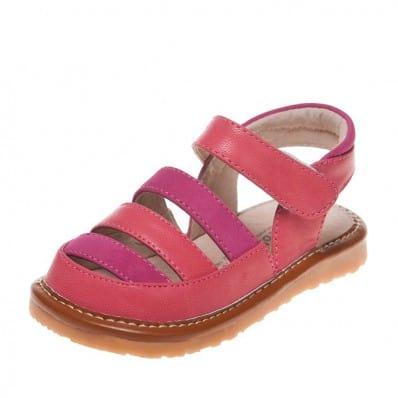 Little Blue Lamb - Zapatos de cuero chirriantes - squeaky shoes niñas | Sandalias anaranjadas y fushia ceremonia