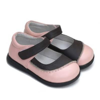 Little Blue Lamb - Soft sole girls Toddler kids baby shoes | Bicolore pink brown