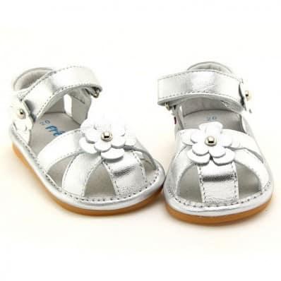 FREYCOO - Krabbelschuhe Babyschuhe squeaky Leder - Mädchen | Silber sandalen